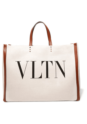 Valentino - Valentino Garavani Plage Large Leather-trimmed Printed Canvas Tote - Neutral