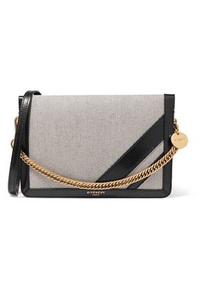 Givenchy - Gv Cross Suede-trimmed Canvas And Textured-leather Shoulder Bag - Black