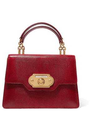 Dolce & Gabbana - Welcome Medium Lizard-effect Leather Tote - Red