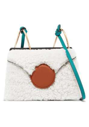 Danse Lente - Phoebe Mini Color-block Shearling And Leather Shoulder Bag - White