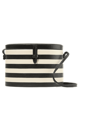 Hunting Season - Oval Trunk Striped Leather Shoulder Bag - Black
