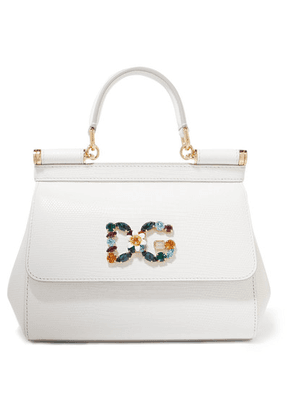 Dolce & Gabbana - Sicily Small Embellished Lizard-effect Leather Tote - White