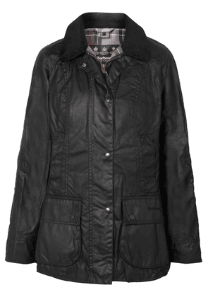 Barbour - Beadnell Corduroy-trimmed Waxed-cotton Jacket - Black