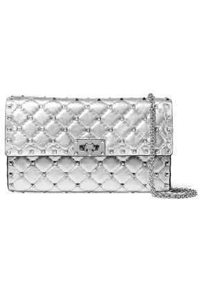 Valentino - Valentino Garavani The Rockstud Spike Quilted Metallic Textured-leather Shoulder Bag - Silver