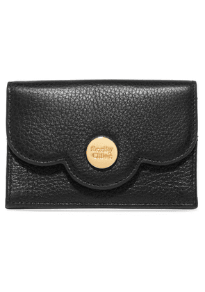 See By Chloé - Polina Scalloped Textured-leather Cardholder - Black