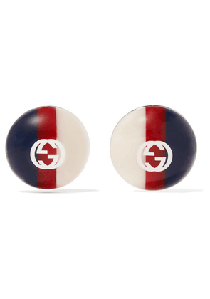 Gucci - Silver-tone And Enamel Earrings - Navy