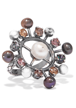 Bottega Veneta - Oxidized Silver, Crystal And Pearl Ring - 13