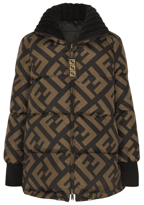 Fendi - Reversible Wool Blend-trimmed Printed Quilted Down Ski Jacket - Black