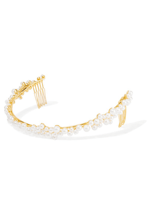 LELET NY - Gold-plated Swarovski Pearl Headband - one size