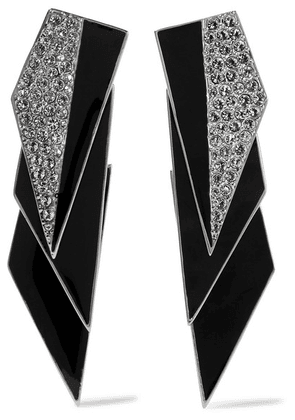 Saint Laurent - Smoking Silver-tone, Enamel And Crystal Clip Earrings - Black