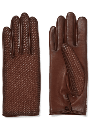 Agnelle - Woven Leather Gloves - Brown