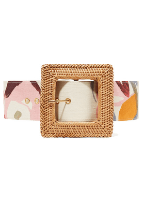 Cult Gaia - Sylvie Printed Linen And Rattan Belt - Sand