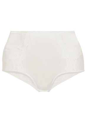 Dolce & Gabbana - Lace-trimmed Stretch-silk Satin Briefs - White