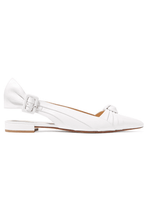 Francesco Russo - Knotted Leather Slingback Flats - White