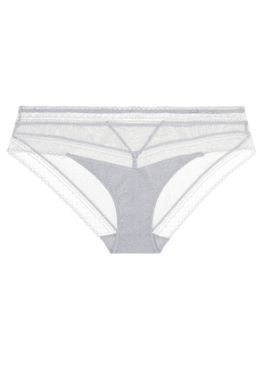 Chantelle - Festivité Stretch-lace And Tulle Briefs - Gray