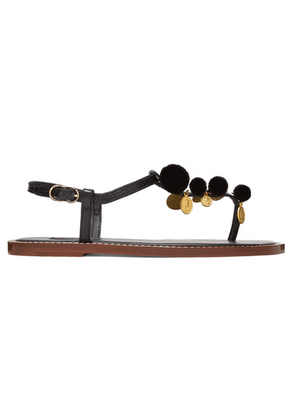 Dolce & Gabbana - Pompom And Charm-embellished Lizard-effect Leather Sandals - Black