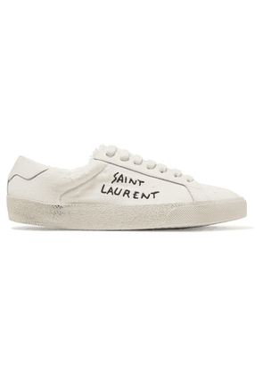 Saint Laurent - Leather-trimmed Logo-embroidered Canvas Sneakers - Cream