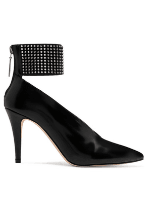 Christopher Kane - Crystal-embellished Glossed-leather Pumps - Black