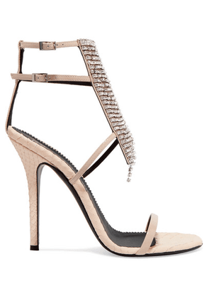 Giuseppe Zanotti - Alien Crystal-embellished Python-effect And Patent-leather Sandals - Beige