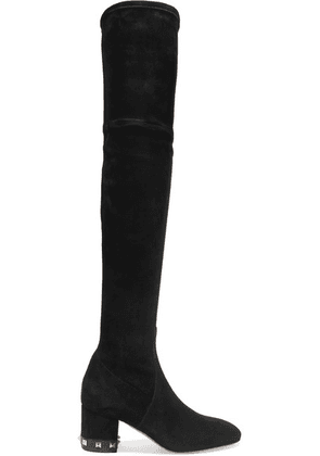 Valentino - Valentino Garavani Studded Stretch-suede Over-the-knee Boots - Black