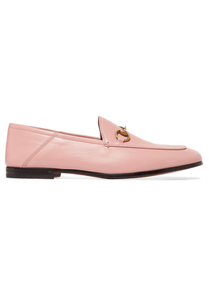 Gucci - Brixton Horsebit-detailed Leather Collapsible-heel Loafers - Baby pink