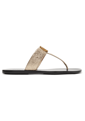 Gucci - Marmont Logo-embellished Metallic Textured-leather Sandals - Gold
