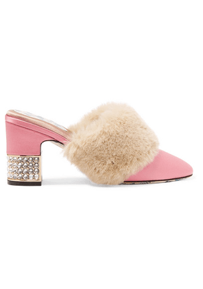 Gucci - Candy Embellished Satin And Faux Fur Mules - Pink
