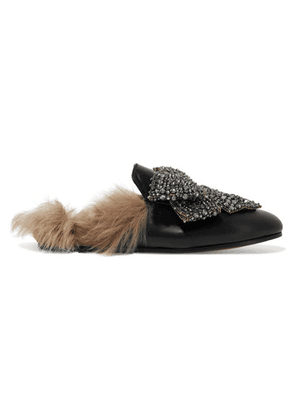 Gucci - Princetown Shearling-lined Embellished Leather Slippers - Black