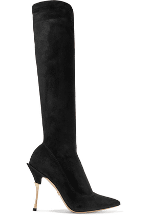 Dolce & Gabbana - Cardinale Stretch-suede Knee Boots - Black