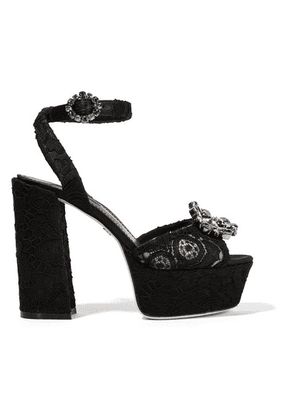 Dolce & Gabbana - Crystal-embellished Corded Lace Platform Sandals - Black