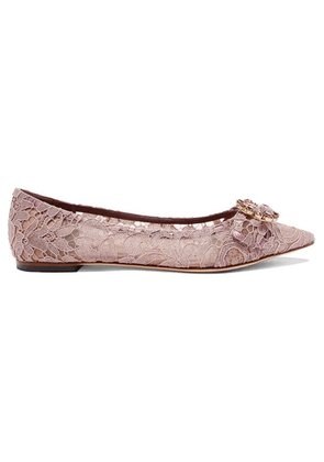 Dolce & Gabbana - Crystal-embellished Corded Lace Point-toe Flats - Lilac