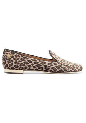 Charlotte Olympia - Nocturnal Embroidered Leopard-print Velvet Slippers - Leopard print