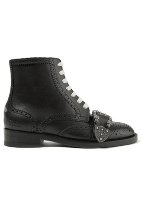Gucci - Queercore Embellished Leather Ankle Boots - Black
