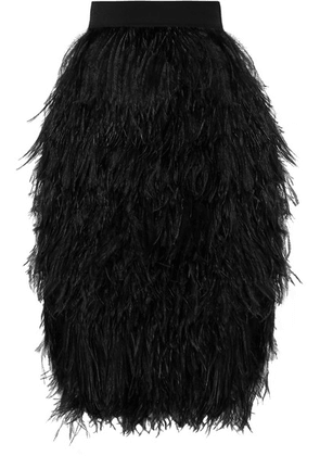 TOM FORD - Feather And Silk-organza Skirt - Black