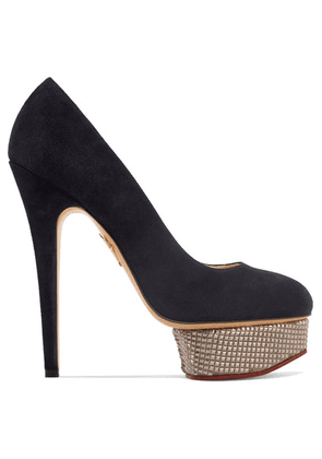 Charlotte Olympia - The Dolly Suede Platform Pumps - Navy