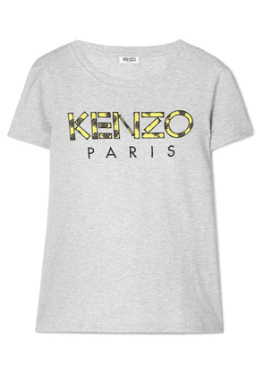 KENZO - Appliquéd Cotton T-shirt - Light gray