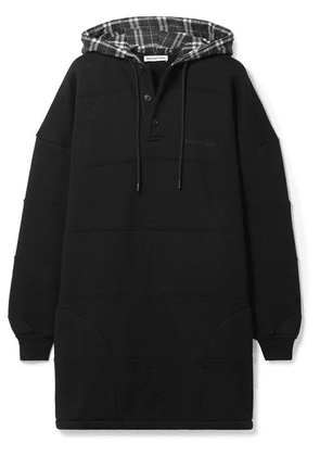 Balenciaga - Oversized Checked Paneled Cotton-jersey Hoodie - Black