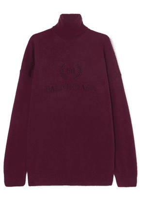 Balenciaga - Embroidered Wool And Cashmere-blend Turtleneck Sweater - Claret