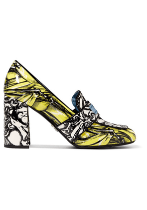 Prada - Printed Patent-leather Pumps - Yellow