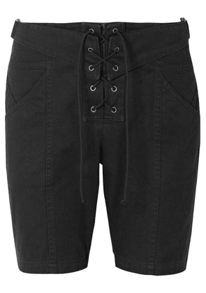 Saint Laurent - Lace-up Cotton And Ramie-blend Twill Shorts - Black