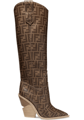 Fendi - Logo-print Coated-canvas Knee Boots - Brown