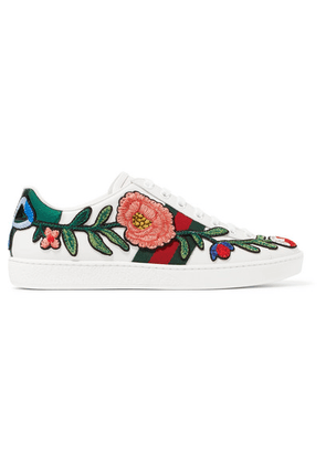 Gucci - Ace Watersnake-trimmed Appliquéd Leather Sneakers - White