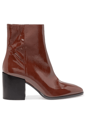 aeyde - Leandra Patent-leather Ankle Boots - Chocolate