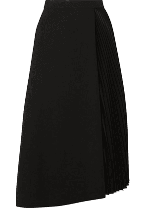 Akris - Wrap-effect Wool-blend And Pleated Satin Midi Skirt - Black