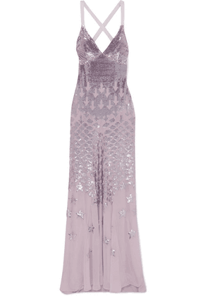 Temperley London - Starlet Open-back Sequin-embellished Chiffon Gown - Lilac