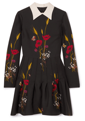 Valentino - Floral-print Wool And Silk-blend Mini Dress - Black