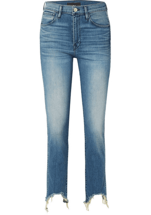 3x1 - W3 Straight Authentic Crop Distressed High-rise Straight-leg Jeans - Mid denim
