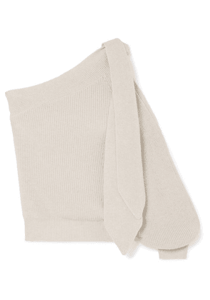 Brunello Cucinelli - One-shoulder Tie-detailed Cotton Sweater - Beige