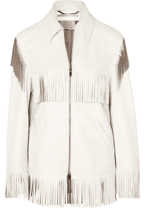 Stella McCartney - Fringed Faux Leather Jacket - White
