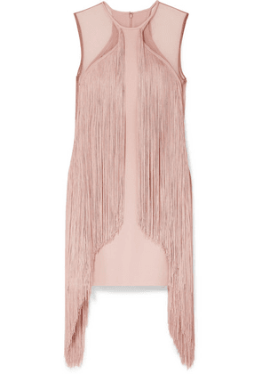Stella McCartney - Tulle-paneled Fringed Stretch-cady Mini Dress - Blush